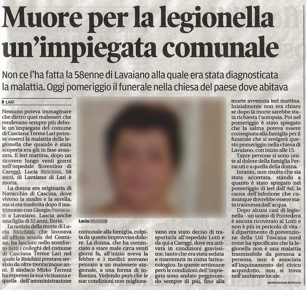 Muore per Legionella 24 Marzo 2016